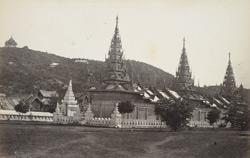 Mandalay. ''Zingyan'' or turreted covered way, for Buddhist priests, to walk in rainy weather. Mandalay Hill, and Crown prince's Shrine, in the background